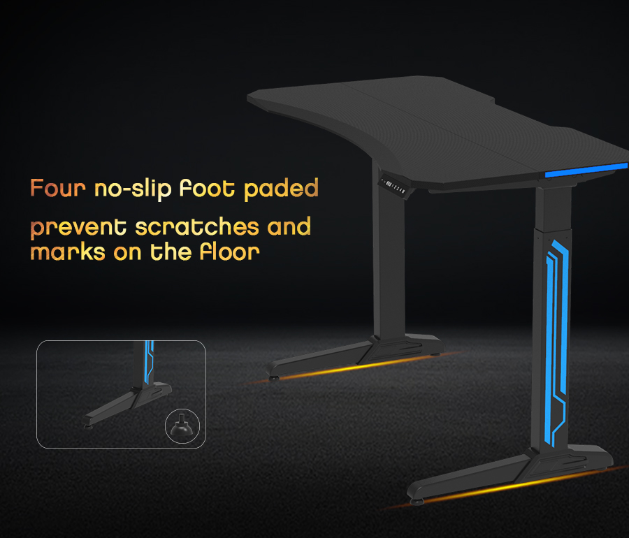 gaming table STURDY 176 LBS SUPPORT - The solid steel frame makes this desk reliable and stable so you can enjoy a wobble-free setup supporting up to 176.4 lbs. Integrated cable management keeps your cords organized and out of the way.