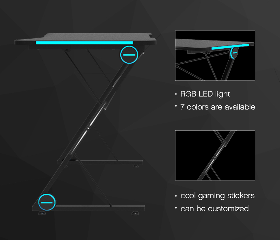 pc gaming desk led