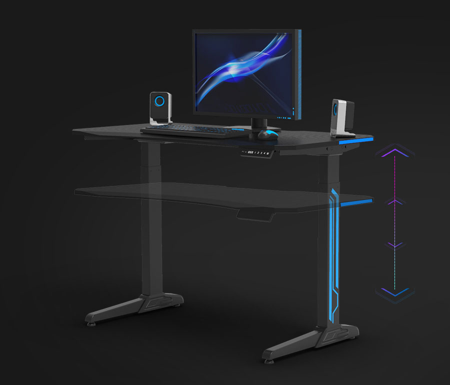 GAMING DESK WITH LED LIGHTS - Take your gaming experience to the next level with this Z-shaped table that serves as a PC gaming desk, esports racing table, computer desk, and more. Features red LED lights for ambiance and a removable baffle for privacy.