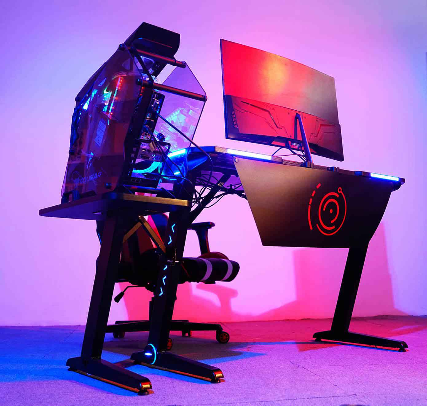 gaming desk with rgb led light cpu cup holder