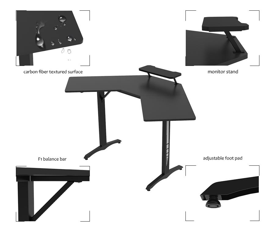 l shaped gaming computer desk oem factroy