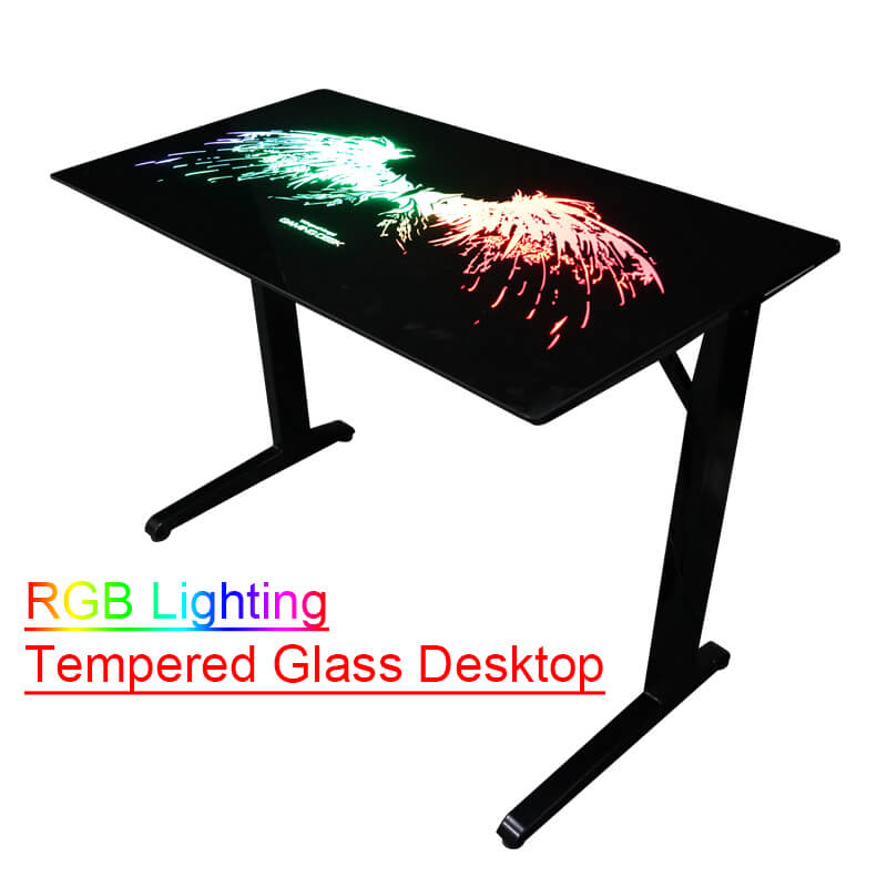Racing Style Gaming Desk T-Shaped Home Office with Tempered Glass Desktop china factory